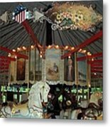 Rounding Board Slater Park Carousel Metal Print