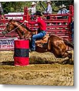 Rounding The Barrel Metal Print
