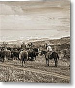 Rounding Up Cattle In Cornville Arizona Sepia Metal Print