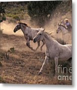 Rounding Up Horses On The Ranch Metal Print