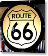 Route 66 Lighted Sign Metal Print