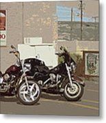 Route 66 Motorcycles With A Dry Brush Effect Metal Print