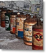 Route 66 Odell Il Gas Station Oil Cans Digital Art Metal Print