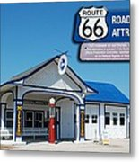 Route 66 Odell Il Gas Station Signage 01 Metal Print