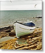 Row Boat On Rocky Shore Metal Print