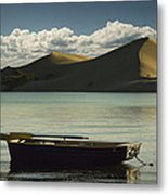 Row Boat On Silver Lake With Dunes Metal Print