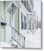 Row Houses On A Snowy Day Metal Print