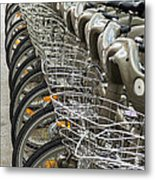 Row Of Bicycles Metal Print