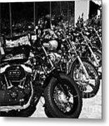 Row Of Harley Davidson Motorbikes Including Sportster Outside Motorcycle Dealership Orlando Florida  Metal Print