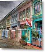 Row Of Historic Colorful Peranakan House Metal Print