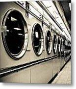 Row Of Washing Machines In Laundromat Metal Print
