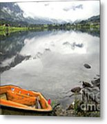 Row Your Boat To The Briksdalsbreen Glacier Metal Print