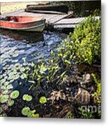 Rowboat At Lake Shore At Dusk Metal Print by Elena Elisseeva