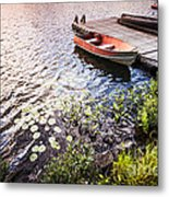 Rowboat At Lake Shore At Sunrise Metal Print