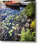 Rowboat At Lake Shore Metal Print