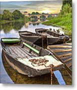 Rowboats On The French Canals Metal Print