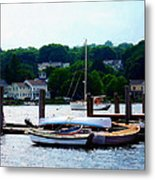 Rowboats Piled At Dock Metal Print
