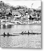 Rowing Along The Schuylkill River In Black And White Metal Print
