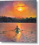 Rowing Away Metal Print by Eve  Wheeler