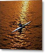 Rowing Into The Sunset Metal Print