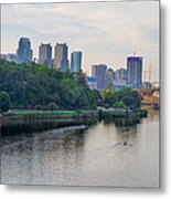 Rowing On The Schuylkill Riverwith Philadelphia Cityscape In Vie Metal Print