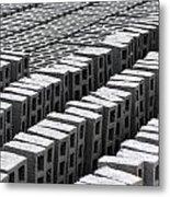Rows Of Concrete Bricks Drying Metal Print