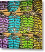 Rows Of Flip-flops Key West - Hdr Style Metal Print