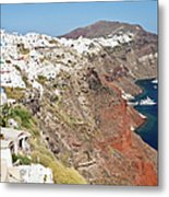 Rows Of Houses Perch On Cliff In Oia Metal Print