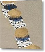 Rows Of Parasols On The Beach Of Metal Print