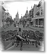 Roy And Minnie Mouse Black And White Magic Kingdom Walt Disney World Metal Print