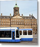 Royal Palace And Trams In Amsterdam Metal Print
