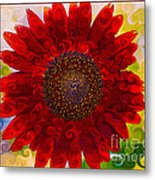 Royal Red Sunflower Metal Print
