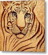 Royal Tiger Coffee Painting Metal Print