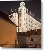 Royal Wawel Castle By Night In Krakow Metal Print