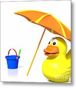 Rubber Duck At The Beach Metal Print