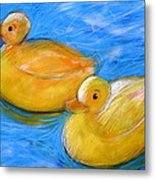 Rubber Ducks In A Tub Metal Print