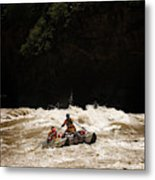 Rubber Raft Running Rapids Metal Print