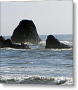 Ruby Beach Sea Stack Metal Print