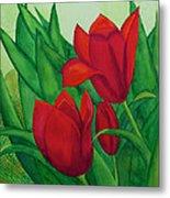 Ruby Red Tulips Metal Print