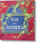 Rue Des Rosiers In Paris Metal Print
