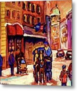 Rue St. Paul Old Montreal Streetscene In Winter Metal Print