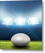 Rugby Stadium And Ball Metal Print