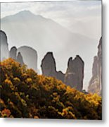 Rugged Cliffs And A Monastery  Meteora Metal Print