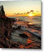 Rugged Shore Fall Metal Print