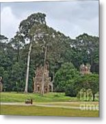 Ruins And Tourists At Angkor Wat Metal Print
