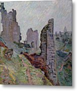 Ruins In The Fog At Crozant Metal Print by Jean Baptiste Armand Guillaumin