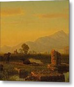 Ruins Of Paestum Metal Print by Albert Bierstadt