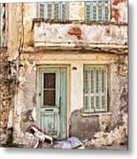Run-down Building In Rethymnon Metal Print