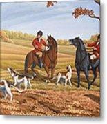 Run Fox Run Hunting Painting Commission Metal Print