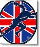 Runner Sprinter Start British Flag Circle Metal Print by Aloysius Patrimonio